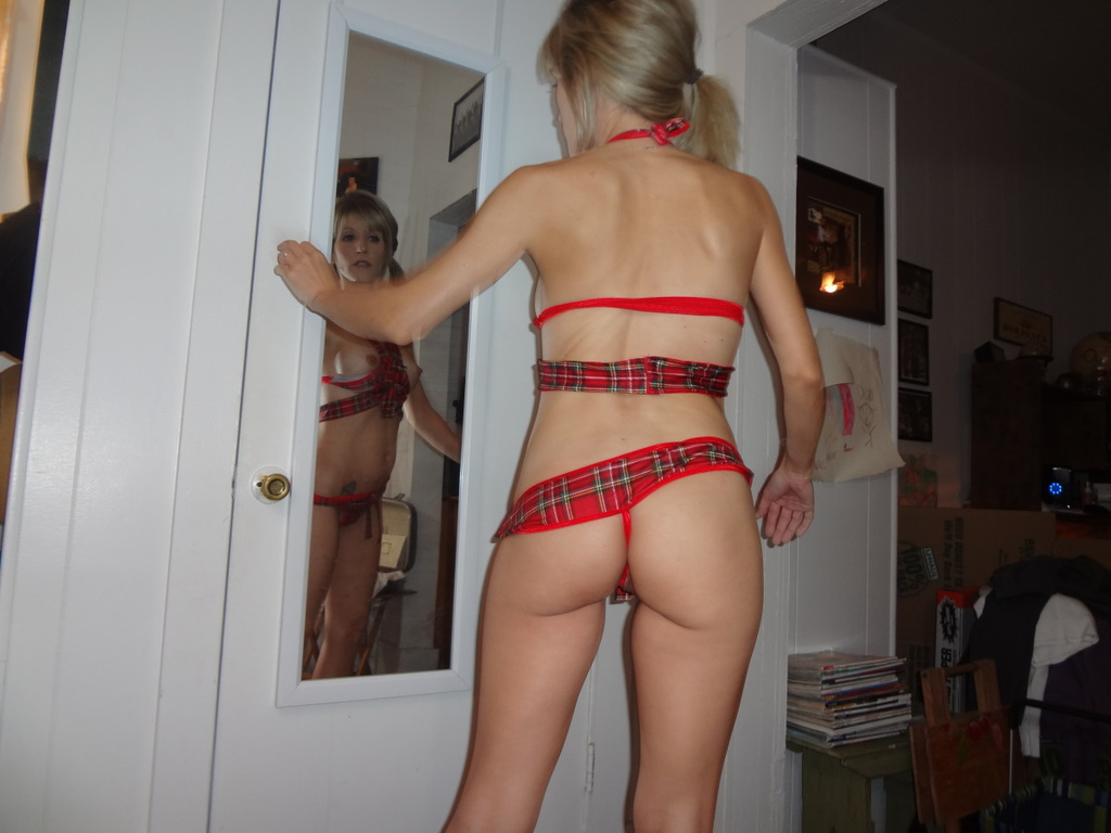 Milf wearing Tartan Split Crotch Panties